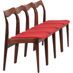 Set of four chairs in rosewood and red seat - 1960s