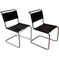 """Pair of """"S33"""" black leather chairs, Mart STAM - 1990s"""