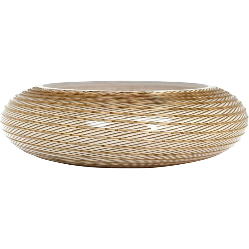 Vintage bowl in glass by Lino Tagliapietra, Italy 1982