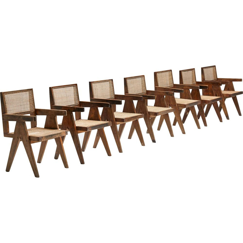 Set of 7 vintage Chandigarh office cane chairs by Pierre Jeanneret, 1950s