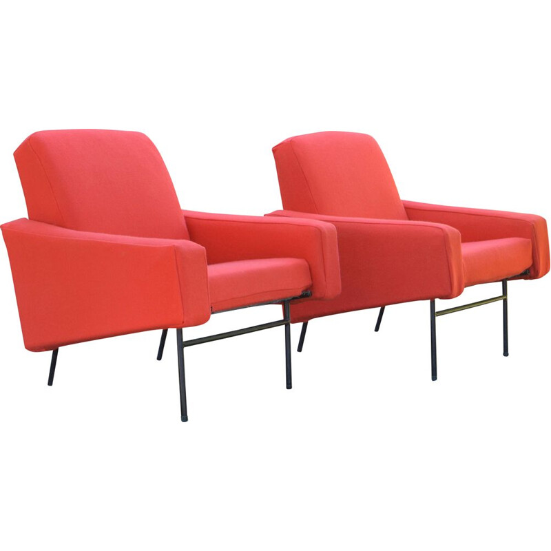 """Pair of vintage armchairs """"G10"""" by Pierre Guariche for Airborne Kvadrat"""