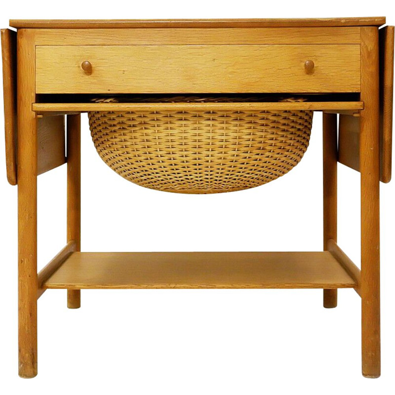 Vintage At-33 sewing table in teak and oakwood by Hans J. Wegner for Andreas Tuck, 1950