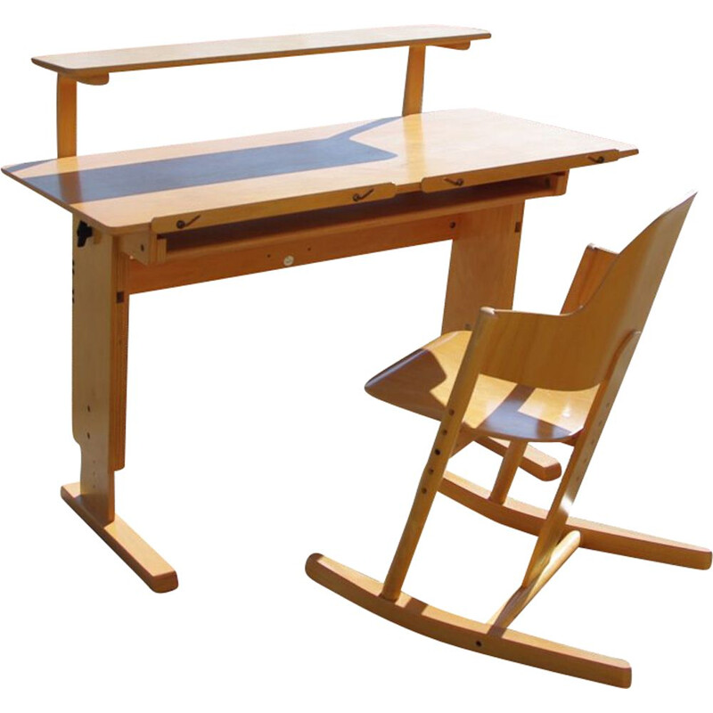 Vintage scalable desk and rocking chair set for MOIZI, 1990