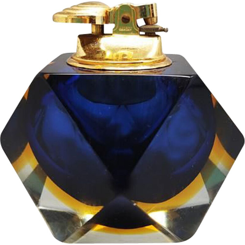 Vintage table lighter in Murano Sommerso glass by Flavio Poli for Seguso, italy 1960s