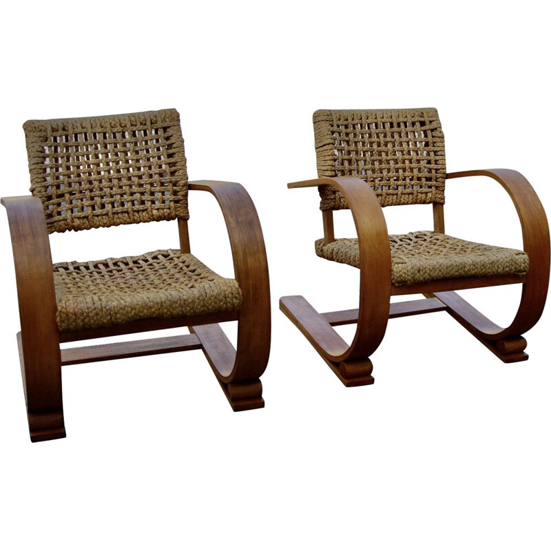 Pair of vintage armchairs by Vibo Audoux Minet, 1950