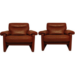 "Pair of De Sede ""DS66"" cognac leather - 1970s"