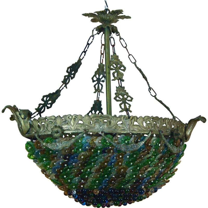 Neoclassical vintage Murano glass chandelier, 1930s