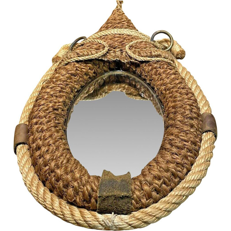 Vintage rope mirror by Audoux Minet, 1950-1960