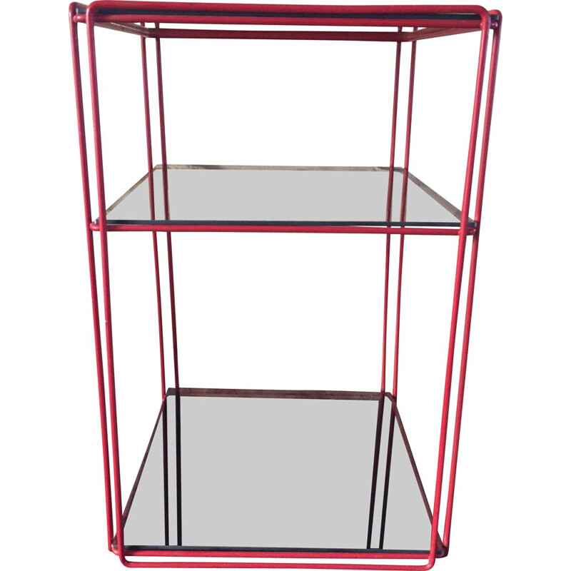 Vintage red shelf in smoked glass by Max Sauze