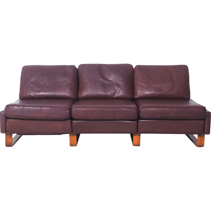 Vintage leather 3-seater Conseta sofa by Friedrich Wilhelm Möller for Cor, 1960s