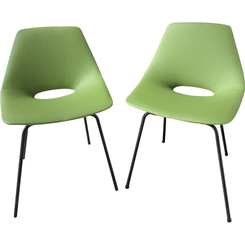 Pair of vintage Tonneau chairs in green imitation leather by Pierre Guariche, 1955