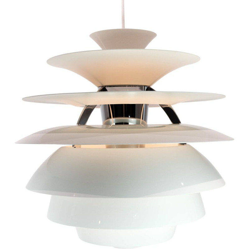 Vintage PH Snowball pendant lamp with white lacqured shades by Poul Henningsen for Louis Poulsen