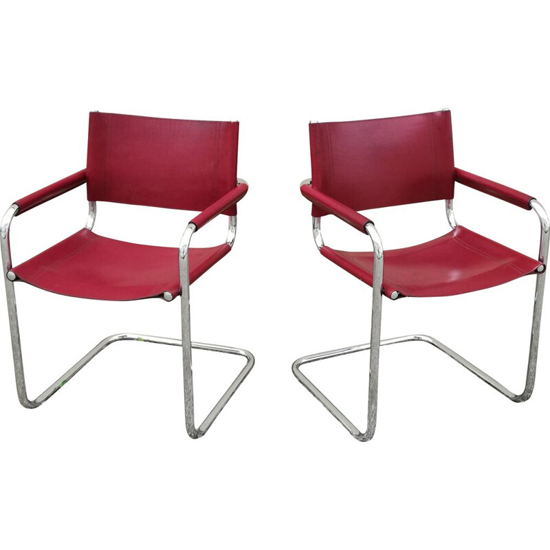 Pair of vintage leather and tubular steel office armchairs by Marcel Breuer, 1980