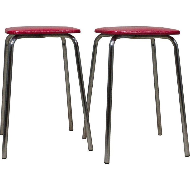Pair of vintage chrome stools with red seat, 1960s