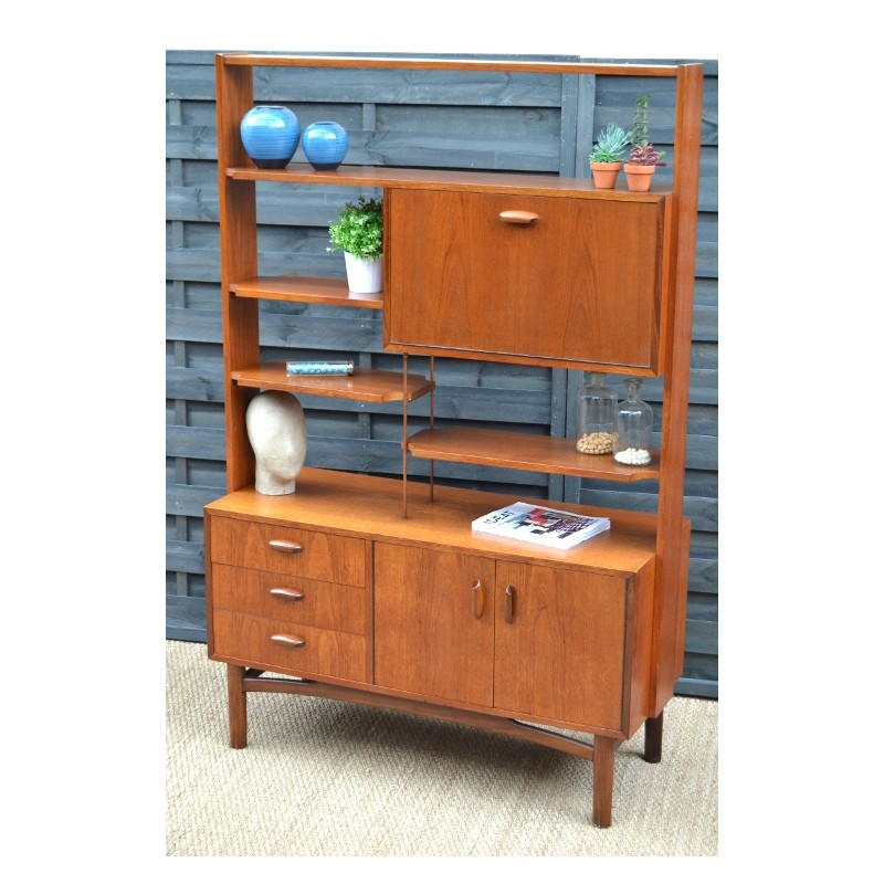 Room divider G Plan bookcase in teak and copper 1960s Design Market