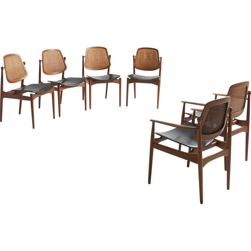 Set of vintage 4 dining chairs and 2 armchairs by Arne Vodder for France & Søn, Denmark 1960s