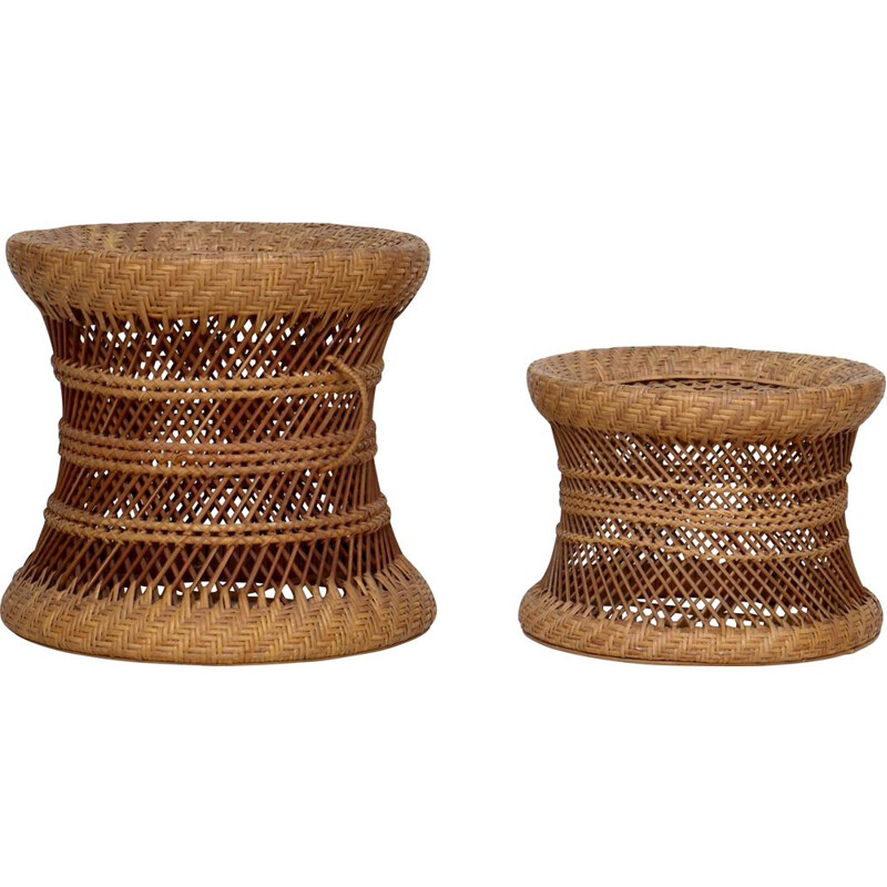Pair if vintage wicker and rattan stools, 1960s