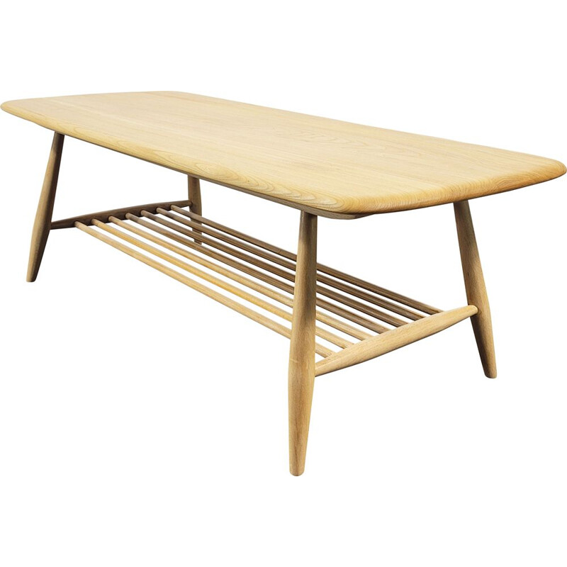 Vintage English elmwood coffee table by Ercol, 1980s