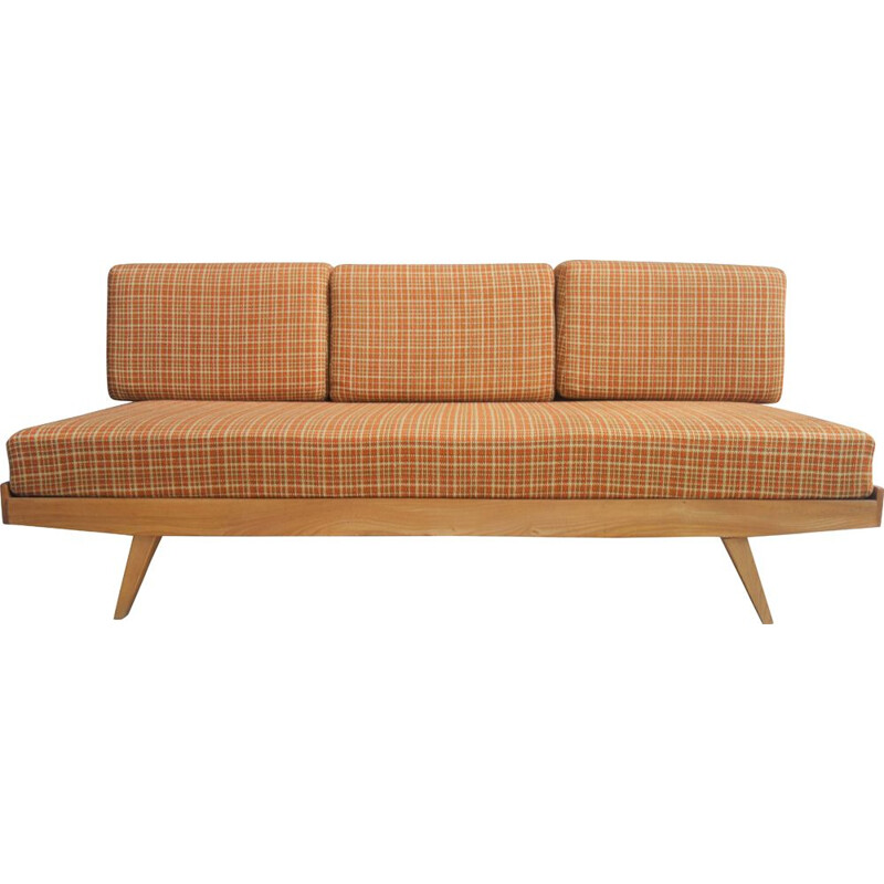Vintage daybed in orange fabric, 1960s