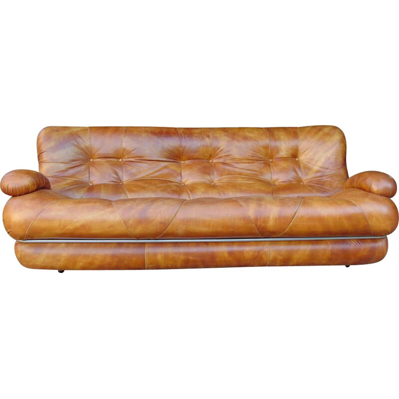 Leather vintage 3 seater sofa by Ipe Milano
