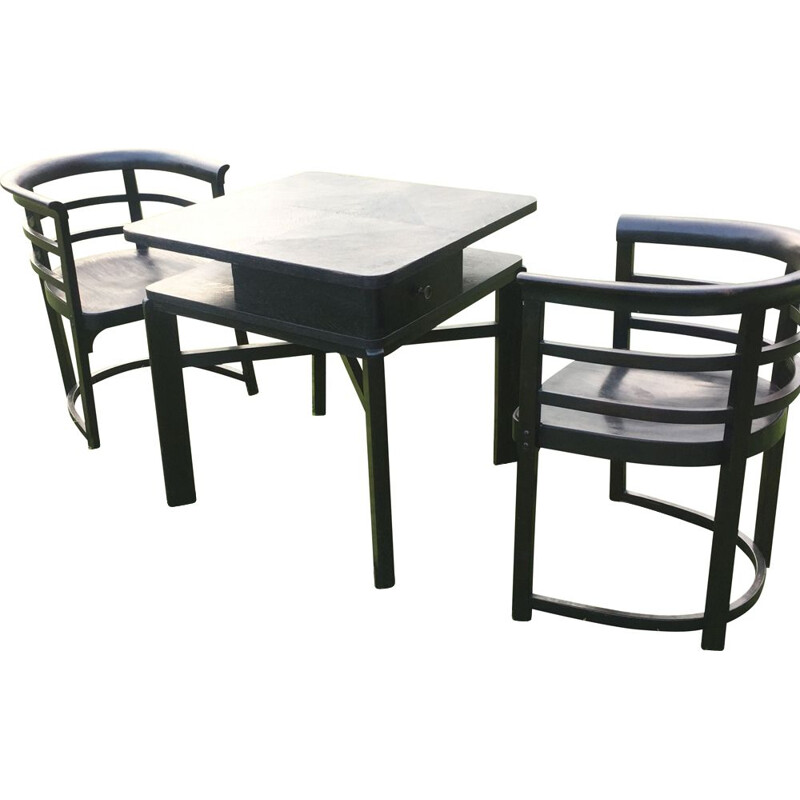 Pair of vintage armchairs and a table by Josef Hoffmann for Thonet