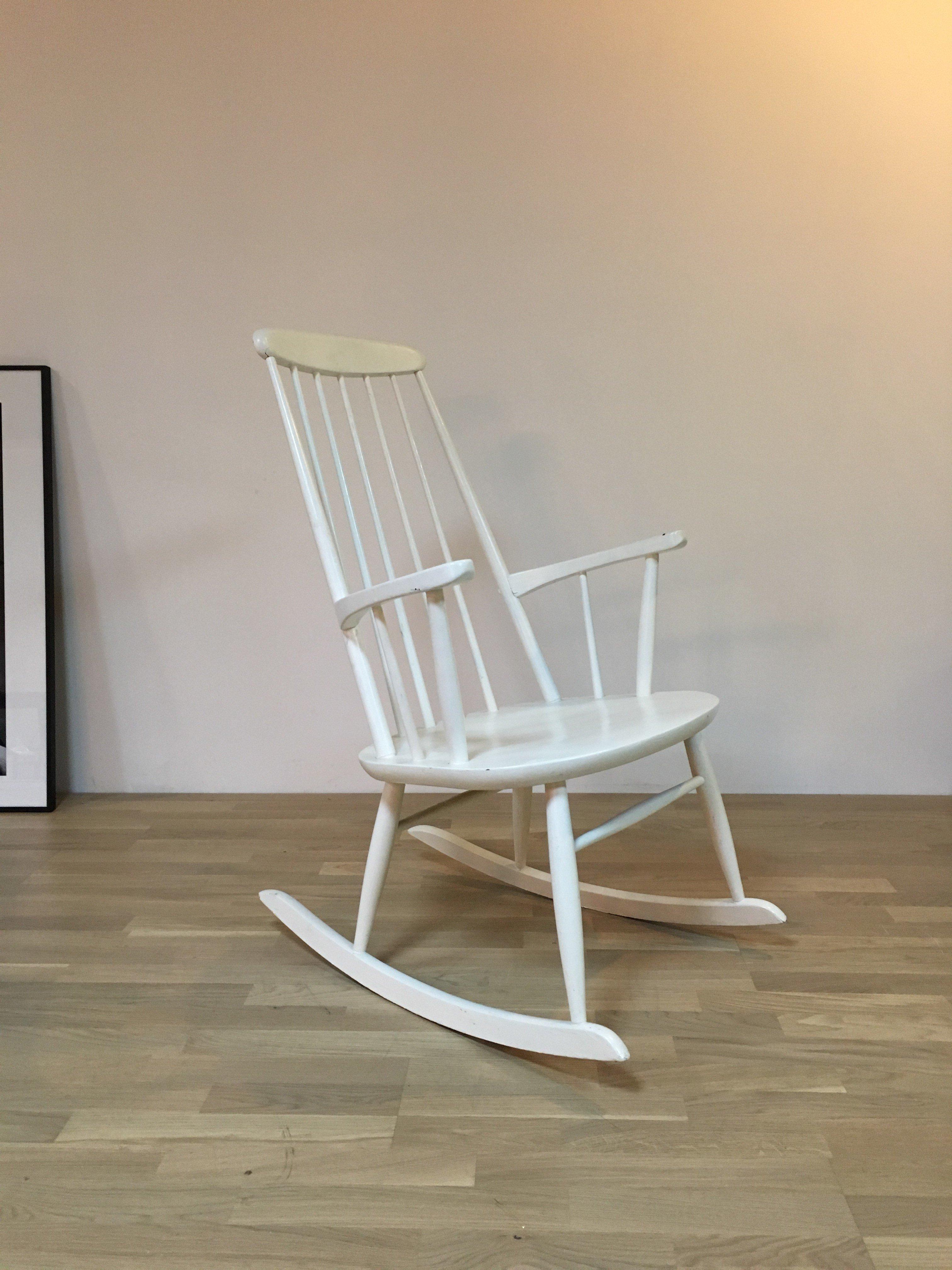 Vintage white Scandinavian rocking chair 1960s Design Market