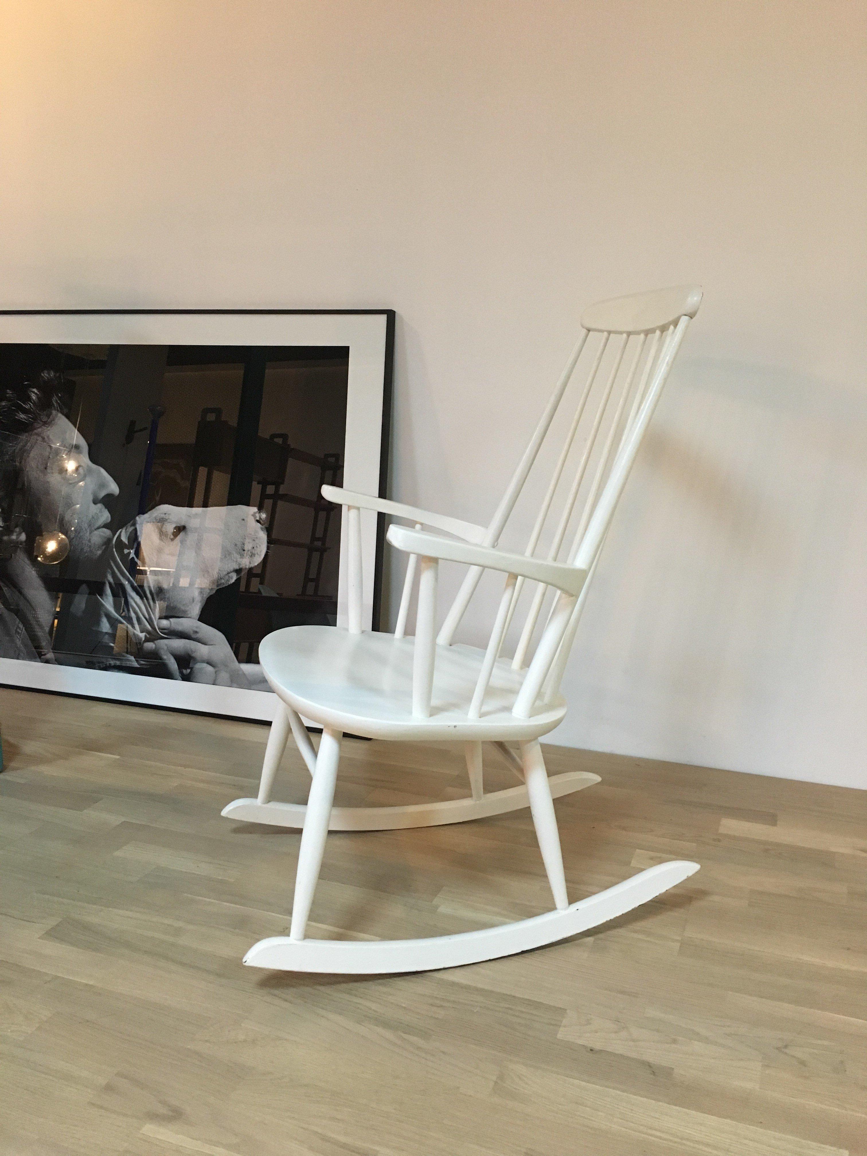 Vintage White Scandinavian Rocking Chair   1960s. Previous Next