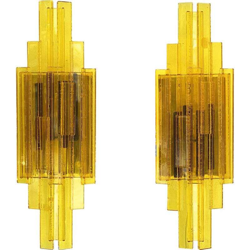 Pair of vintage acrylic wall lamps by Claus Bolby for CeBo industri, Denmark 1960s