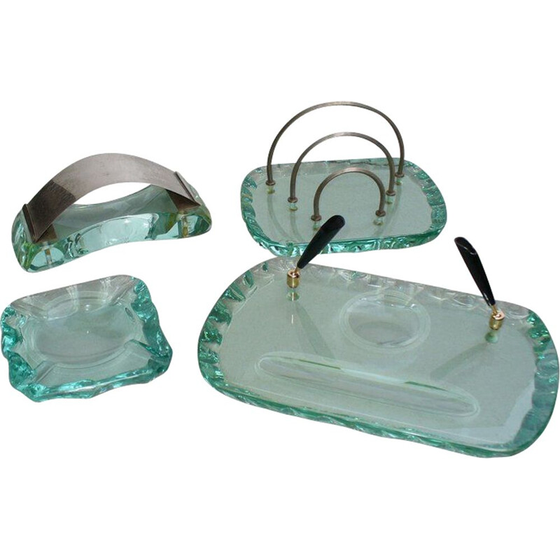 Crystal vintage set for desk by Pietro Chiesa for Fontana Arte, 1930s