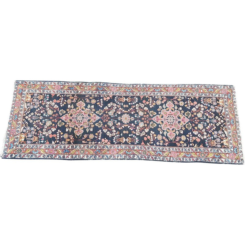 Vintage hand knotted wool rug, 1950s