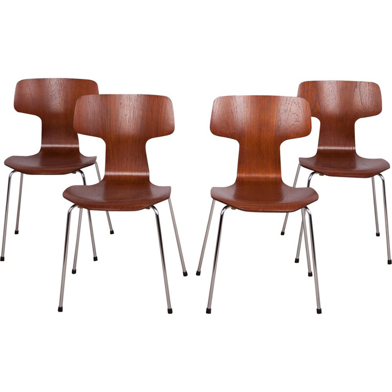 Set of 4 vintage model 3103 dining chairs by Arne Jacobsen for Fritz Hansen, 1970s