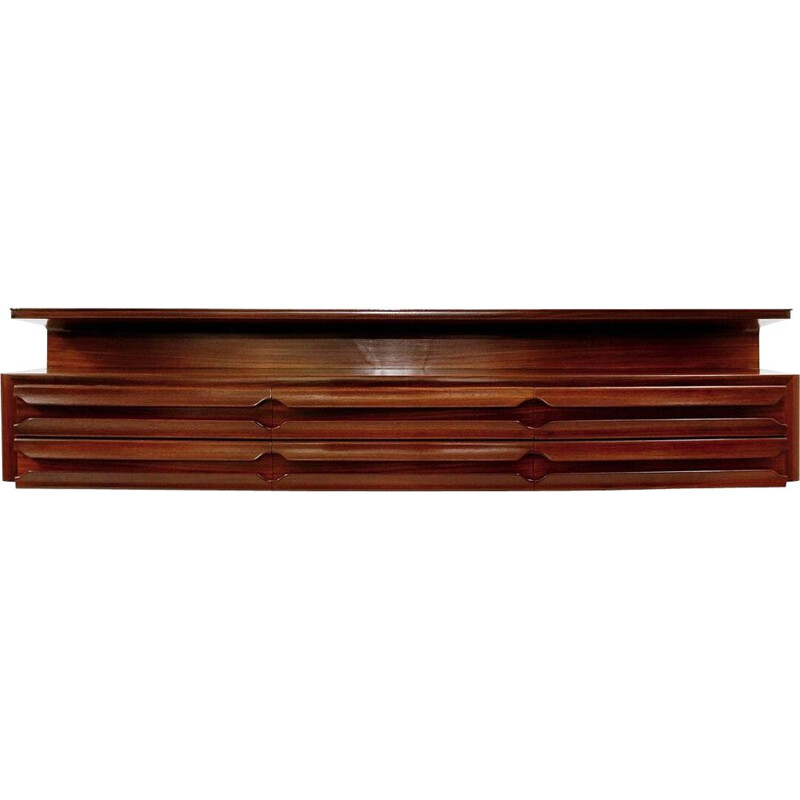 Mid-century wooden wall console, Italy 1960s