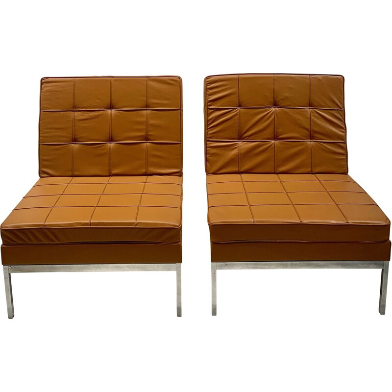 Pair of vintage camel leather armchairs by Florence Knoll