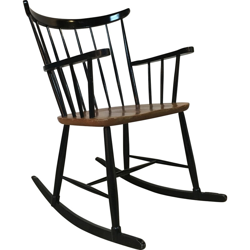 Mid century rocking chair with seat in teak - 1960s