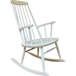 Vintage white Scandinavian rocking chair - 1960s