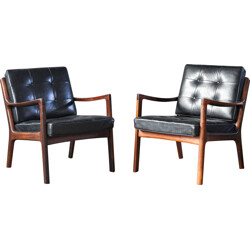 Pair of black France & Son armchairs in rosewood, Ole WANSCHER - 1950s