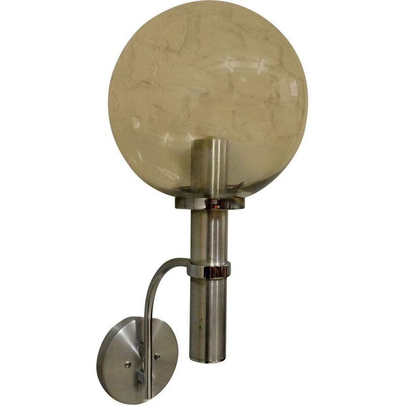 Vintage XL wall lamp in aluminium and smoked glass, 1970