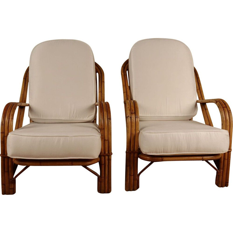 Pair of vintage rattan armchairs by Audoux Minet