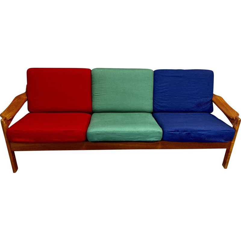 Vintage 3 seater sofa in colours, 1950