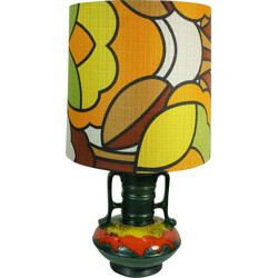 Table lamp in ceramic with pop art textile shade - 1970s