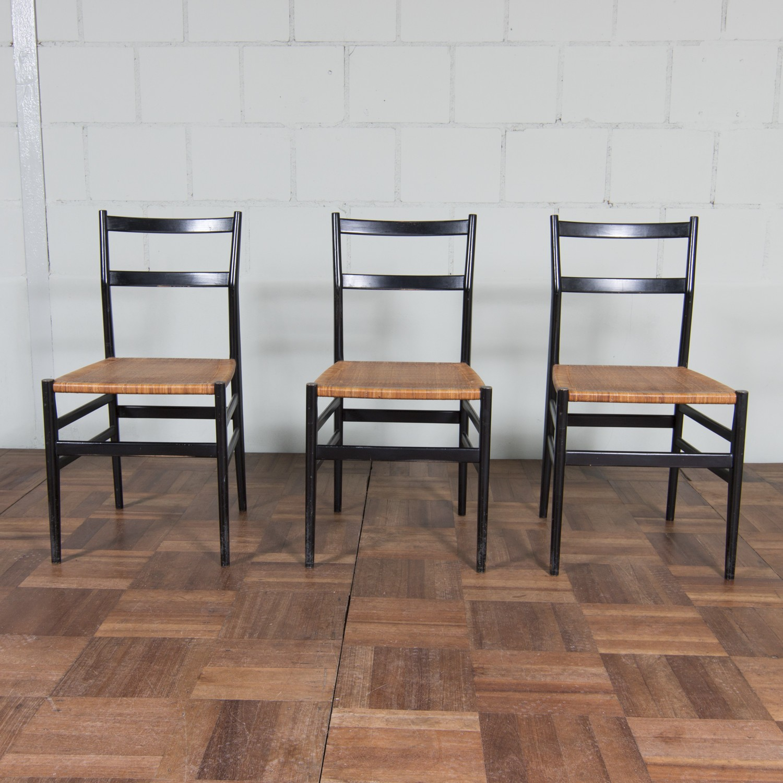 "Italian Cassina ""Superleggera"" dining chair in black wood Gio"