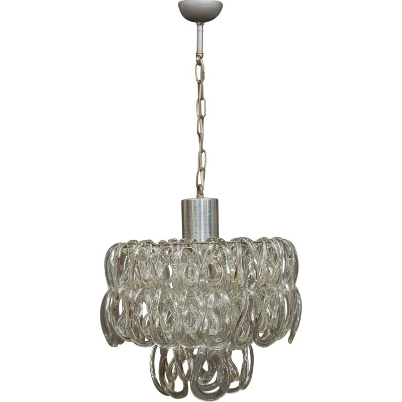 Vintage glass chandelier by Angelo Mangiarotti for Vistosi, 1960s