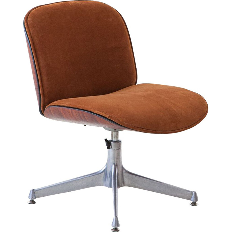 Mid century wood and leather desk armchair by Ico Parisi for Mim, Italy