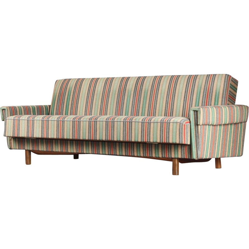 Danish vintage solid oakwood and striped upholstery sofabed