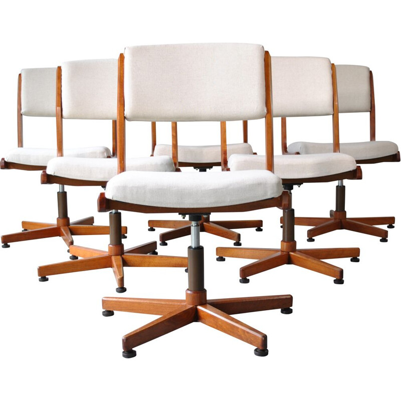 Set of 6 vintage swivel conference chairs, 1970