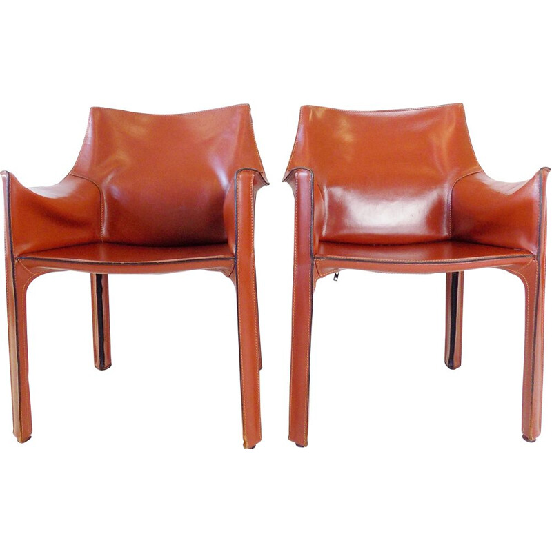 Pair of vintage Cab 413 leather armchairs by Mario Bellini for Cassina