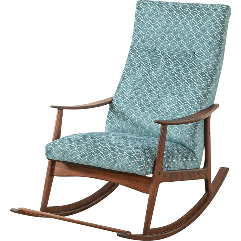 Mid century beech wood and blue fabric rocking chair, 1950s