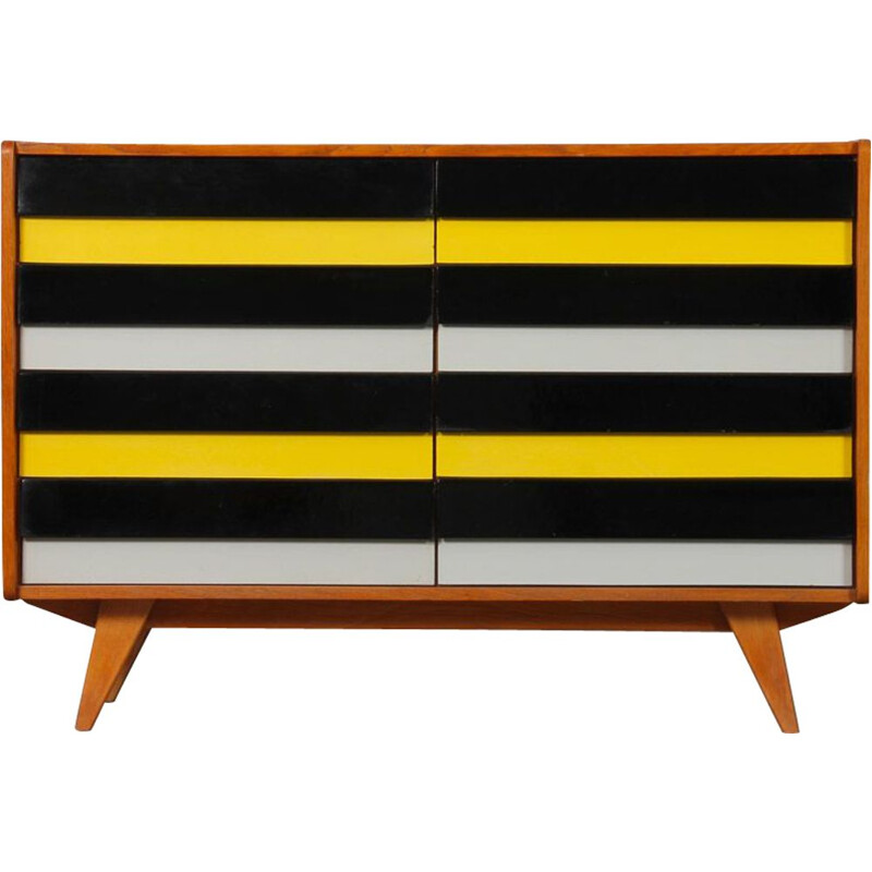 Vintage yellow and black chest of drawers model U-453 by Jiri Jiroutek for Interier Praha, Czech Republic 1960