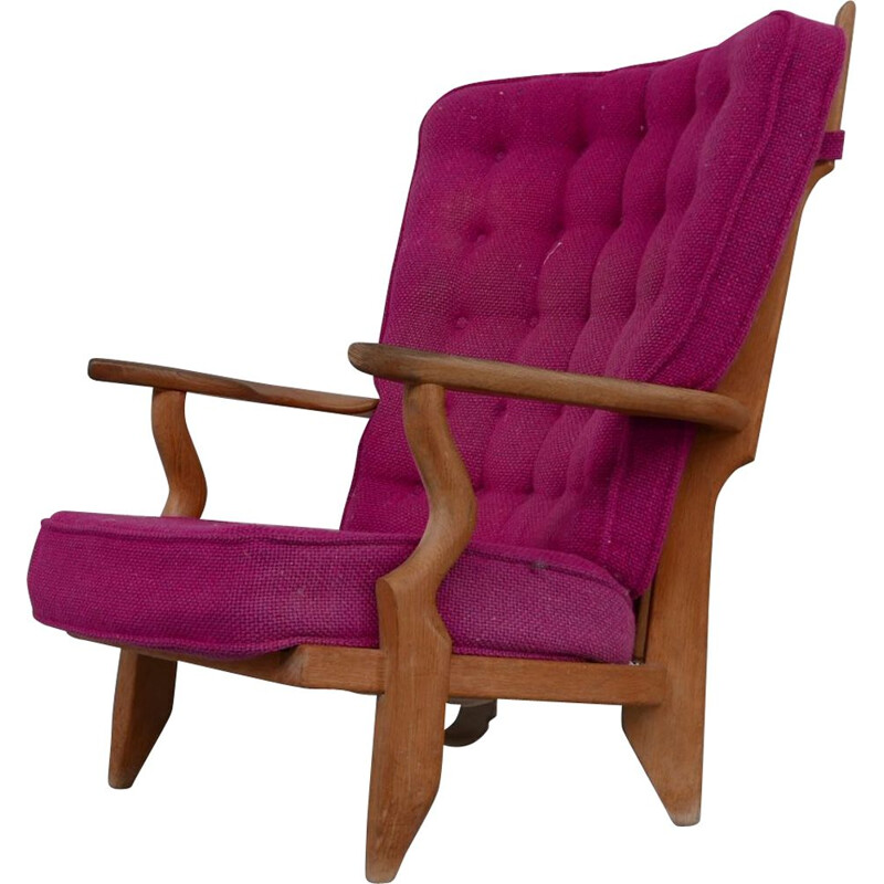 """Oakwood mid-century """"Repos"""" armchair by Guillerme et Chambron, France 1960s"""