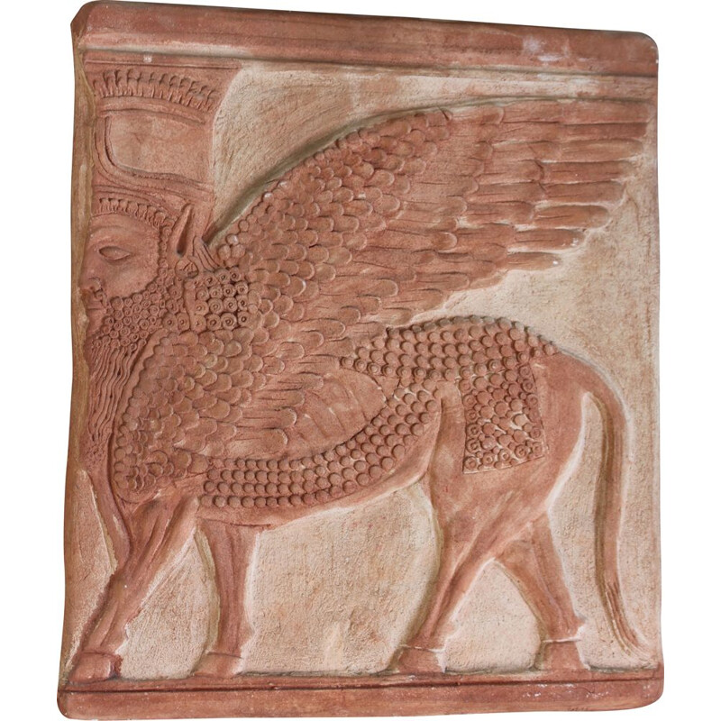 Terracotta vintage bas-relief depicting an Assyrian-Babylonian divinity by Taff, Italy 1950s